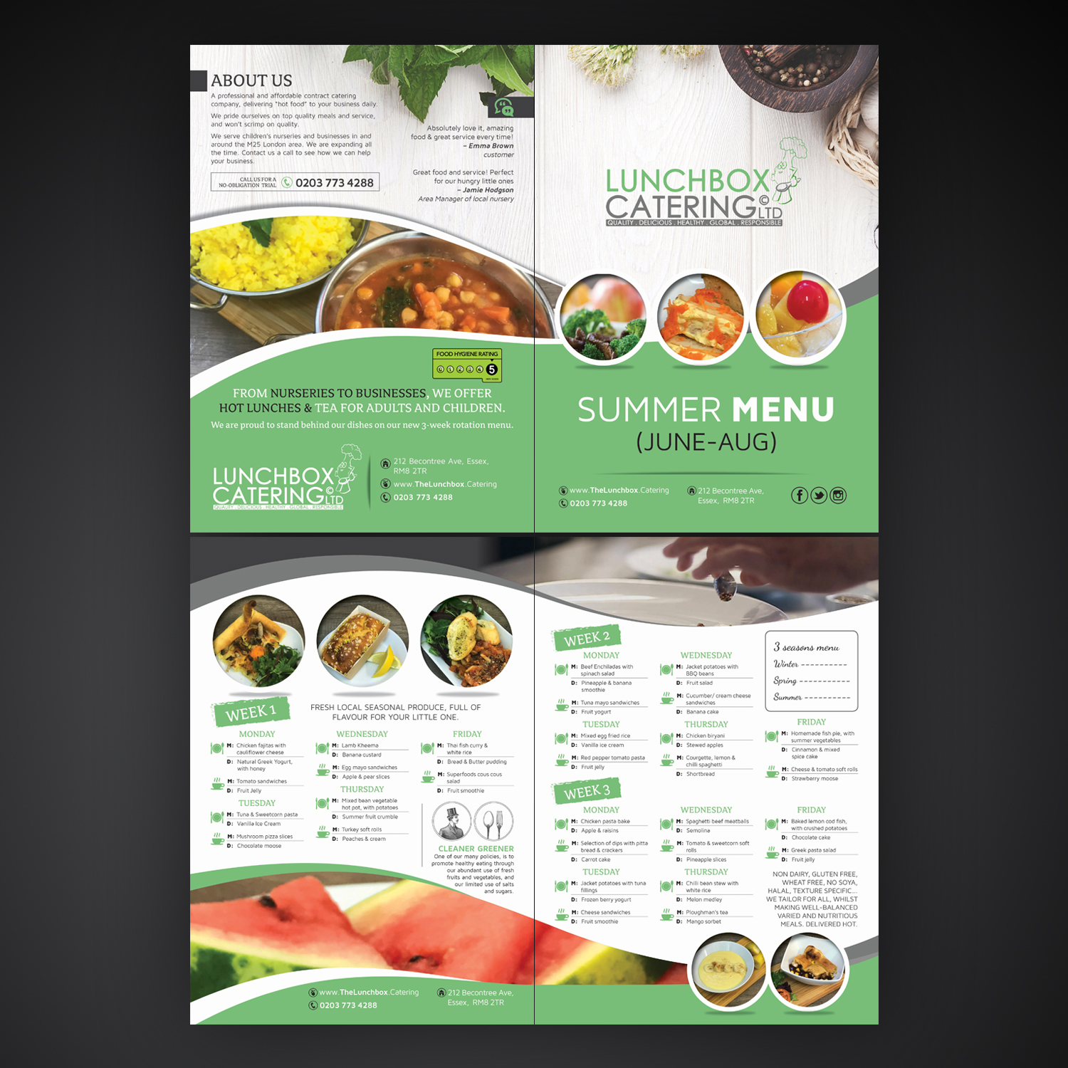 modern professional catering flyer design for lunchbox catering by