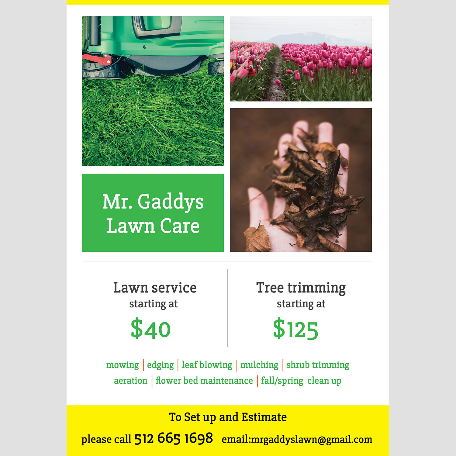 flyer design by ana1 for mr gaddys lawn care design 16015025