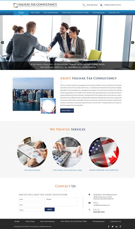 Masculine elegant web design for halifax tax consultancy for Masculine web design