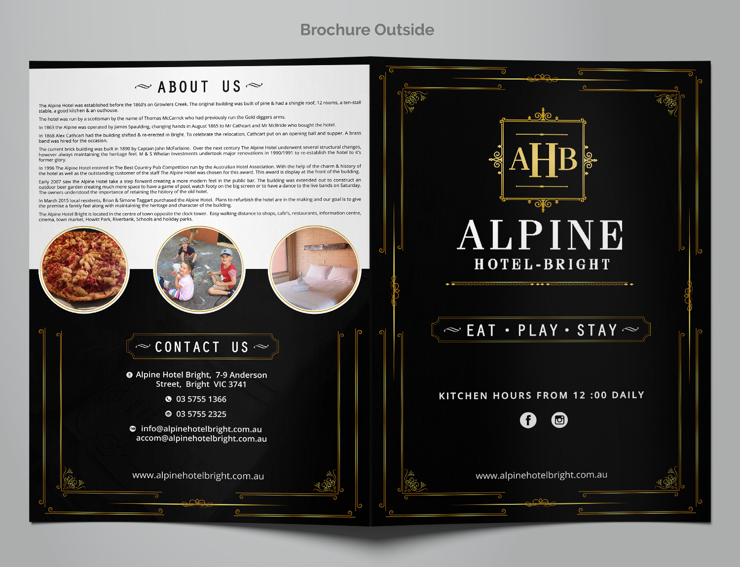 professional elegant hospitality menu design for the alpine hotel