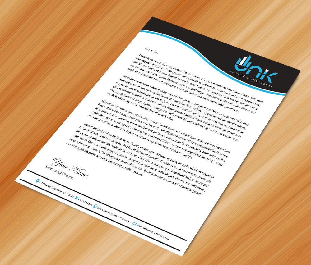 Construction Letterhead Design for a Company by