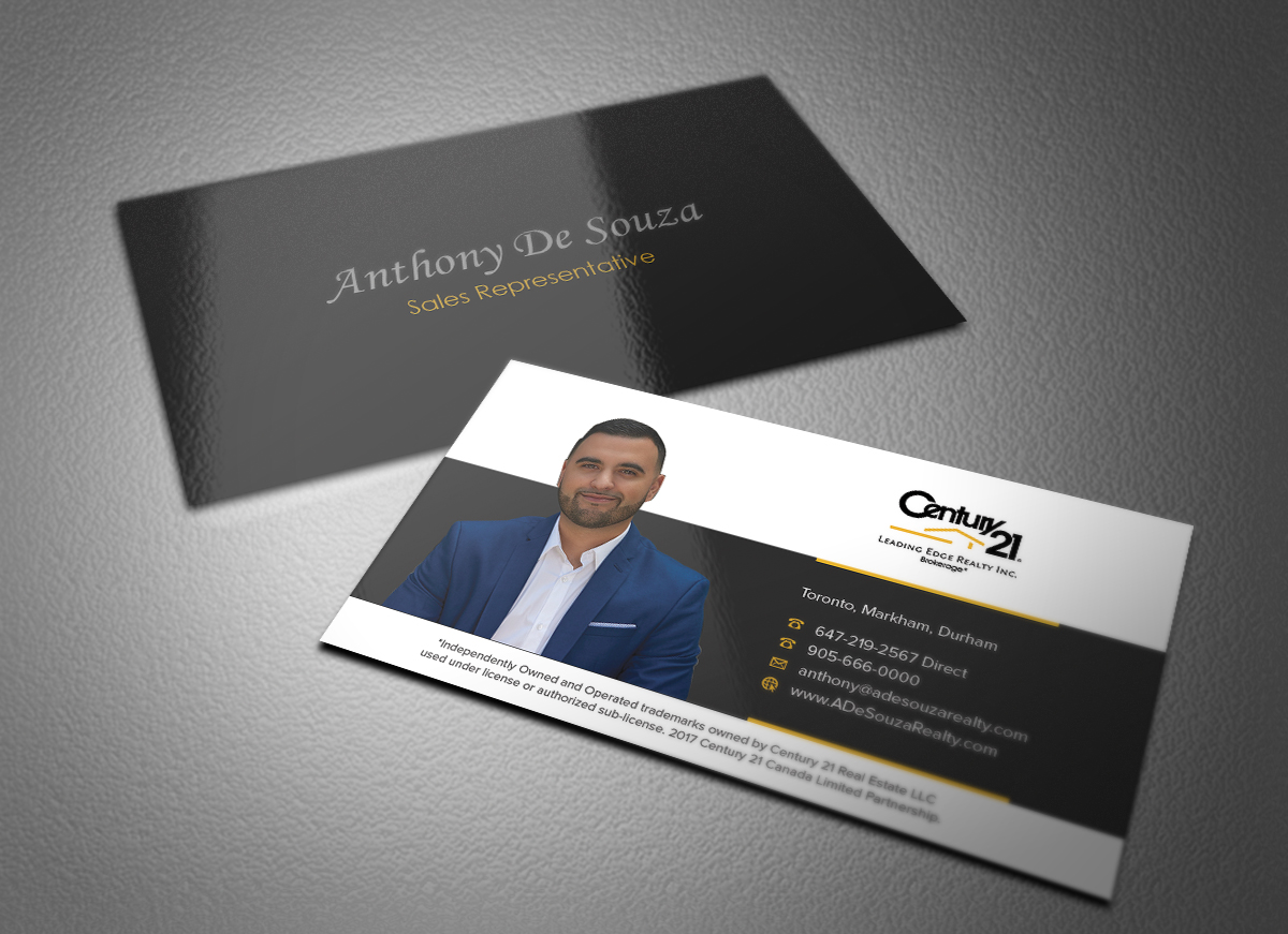 Modern bold real estate agent business card design for anthony business card design by eggo may p for this project design 16258493 reheart Choice Image