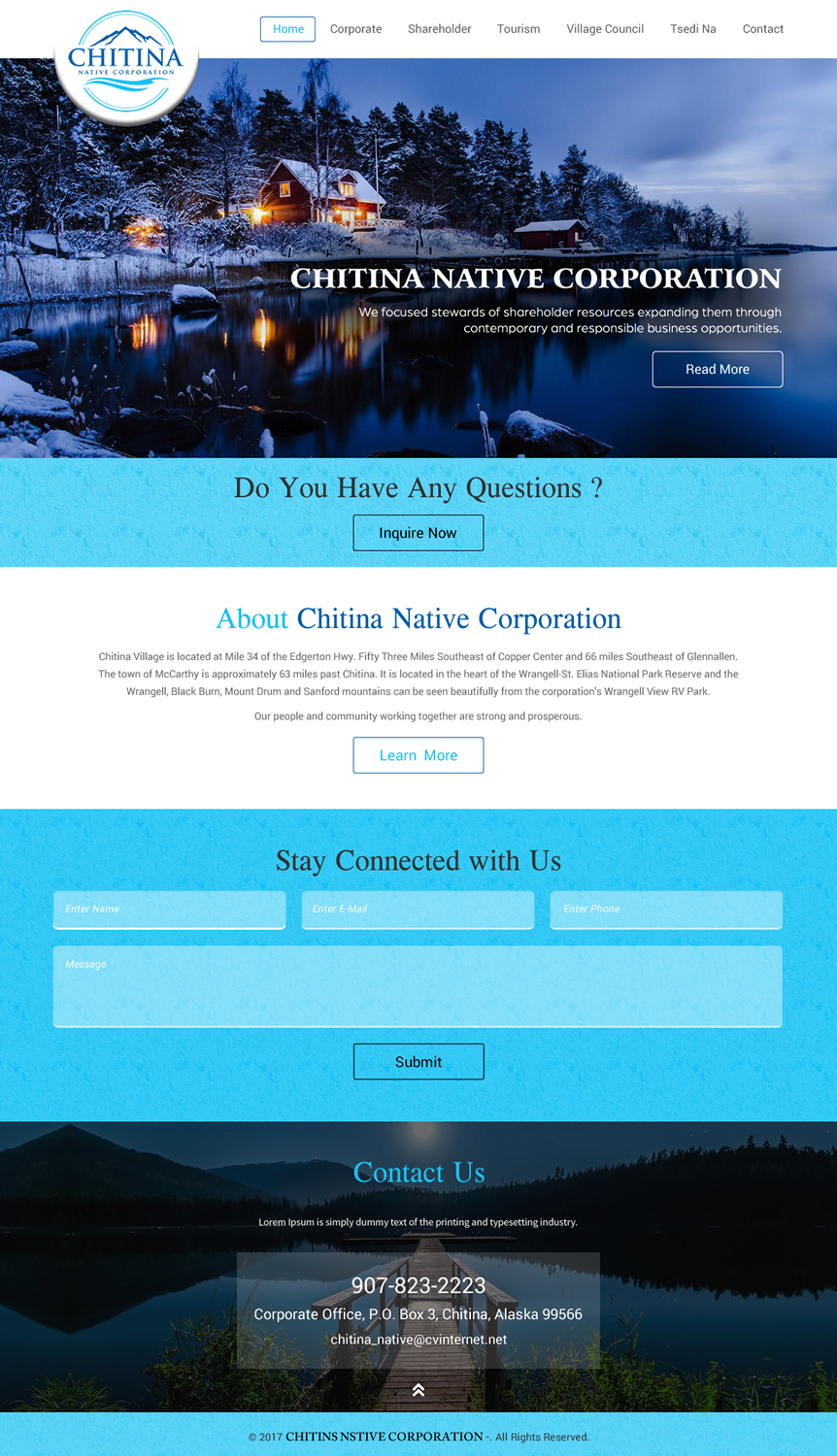 Modern, Professional, Business Web Design for Chitina Native