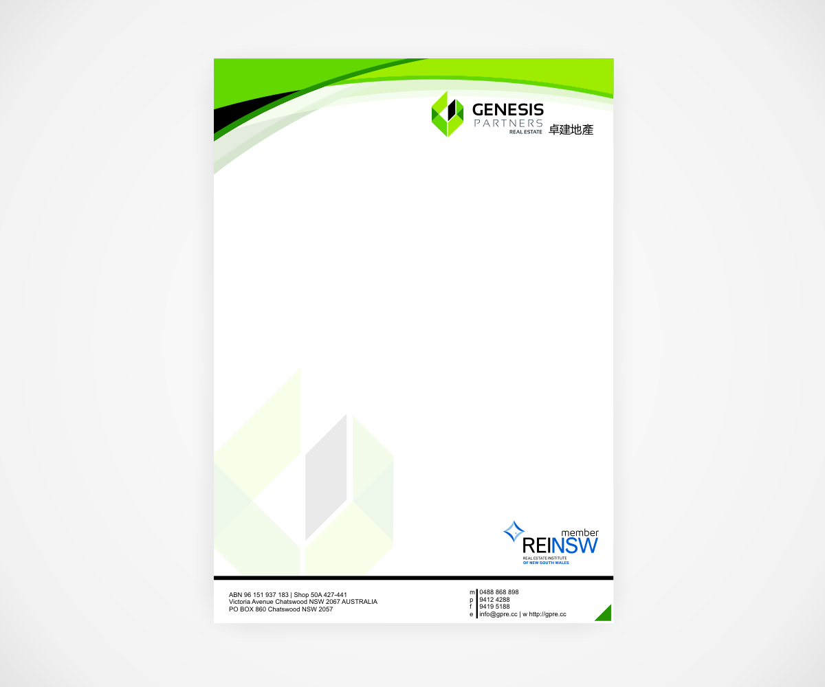 Serious Modern Letterhead Design For Genesis Partners
