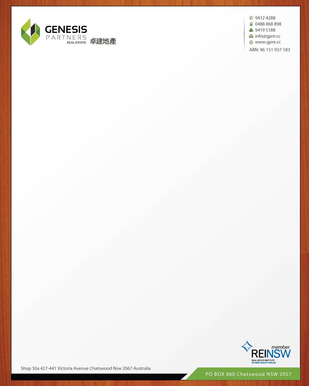 Serious modern boutique letterhead design for genesis partners letterhead design by sbss for genesis partners real estate design 2662971 spiritdancerdesigns Gallery