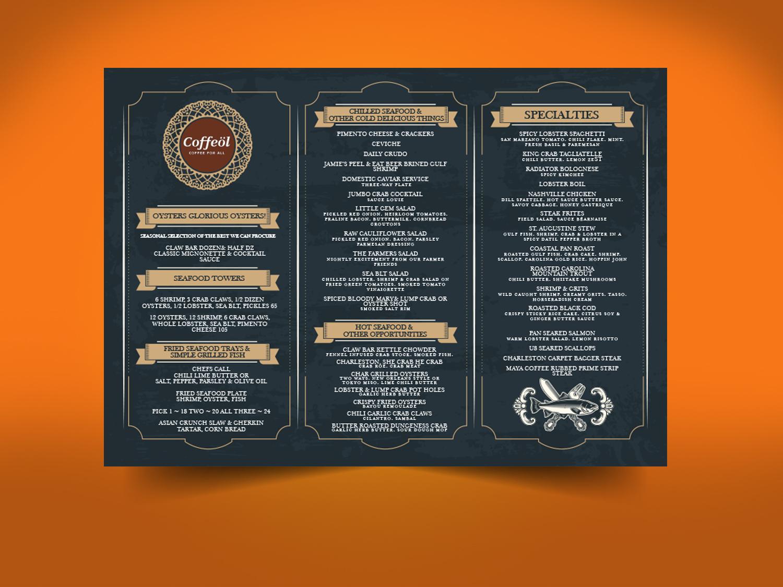 elegant, modern, coffee shop menu design for caffeine by priyo