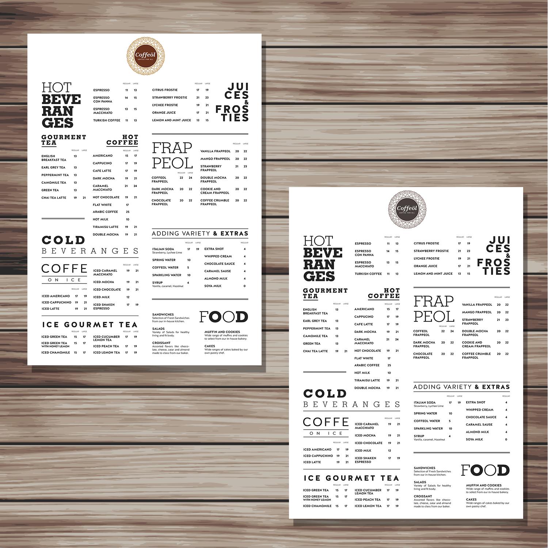 24 elegant menu designs coffee shop menu design project for caffeine