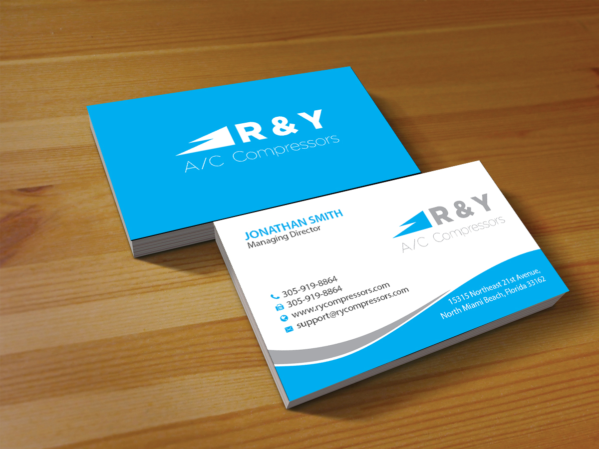 Professional modern automotive business card design for r y ac business card design by creations box 2015 for r y ac compressors design reheart Choice Image