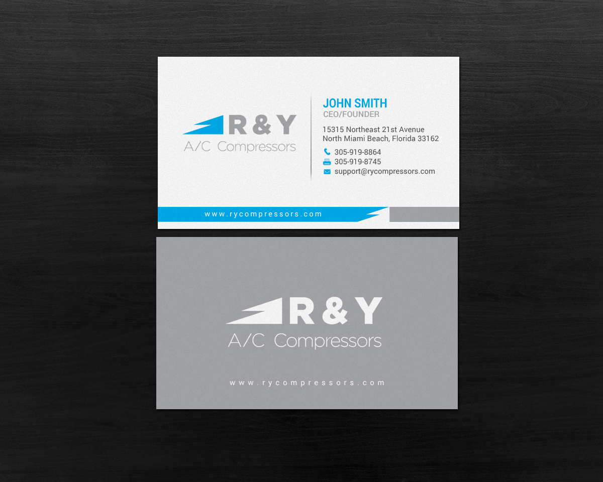 Professional modern automotive business card design for r y ac business card design by chandrayaaneative for r y ac compressors design reheart Choice Image