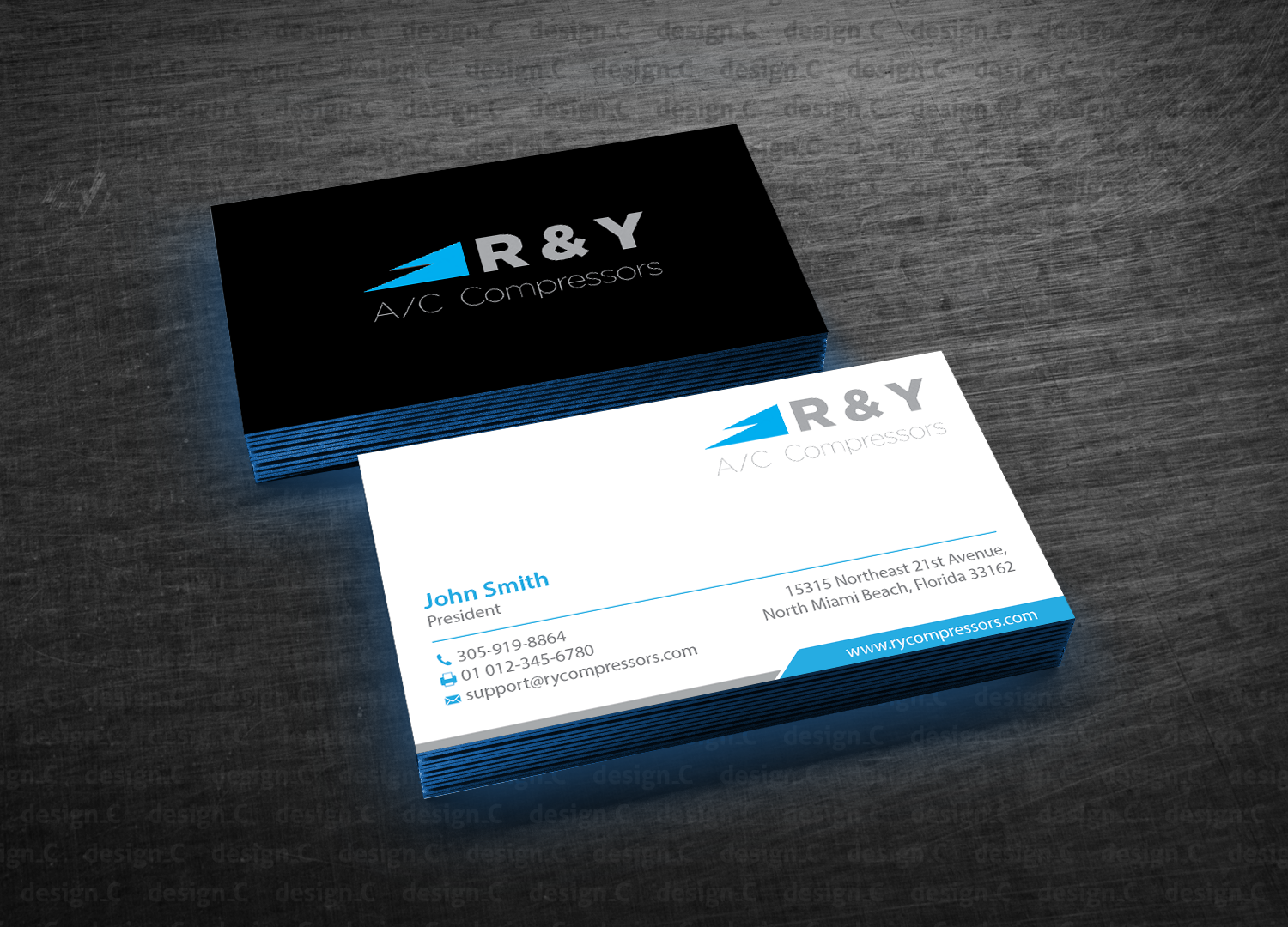 Professional modern automotive business card design for r y ac business card design by designc for r y ac compressors design reheart Choice Image