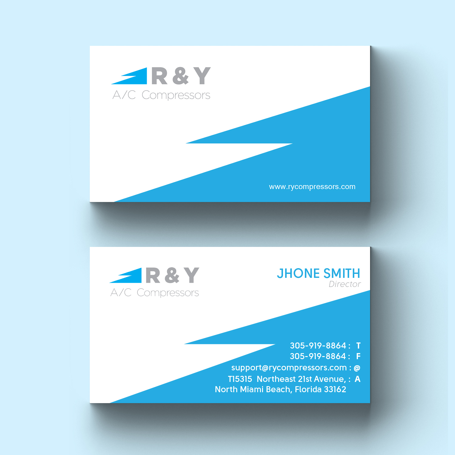 Professional modern automotive business card design for r y ac business card design by my d for r y ac compressors design colourmoves