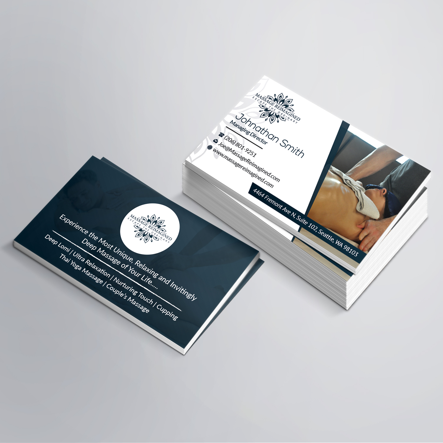 Elegant playful massage business card design for a company by business card design by sudipta sen for this project design 16315048 reheart Image collections