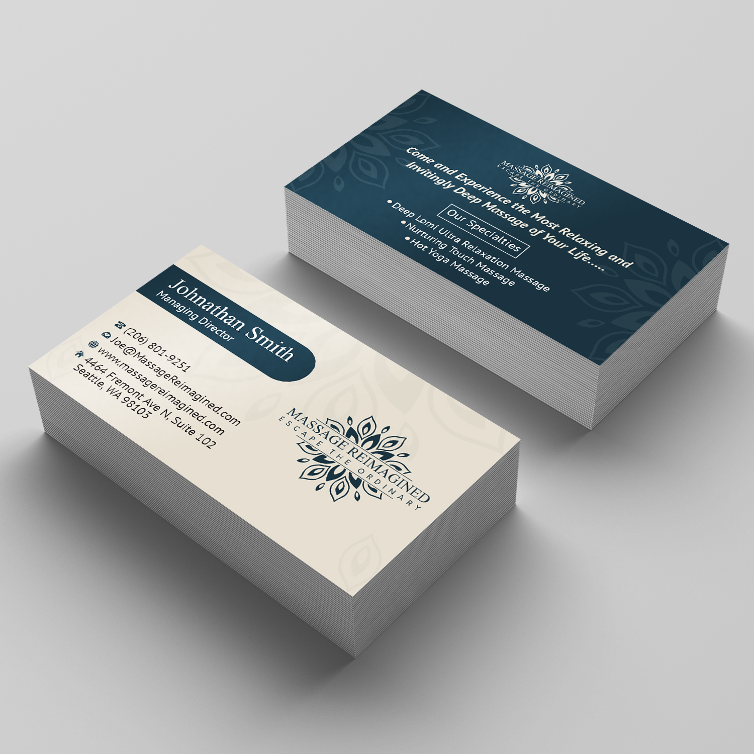 Elegant playful massage business card design for a company by business card design by sudipta sen for this project design 16315049 colourmoves