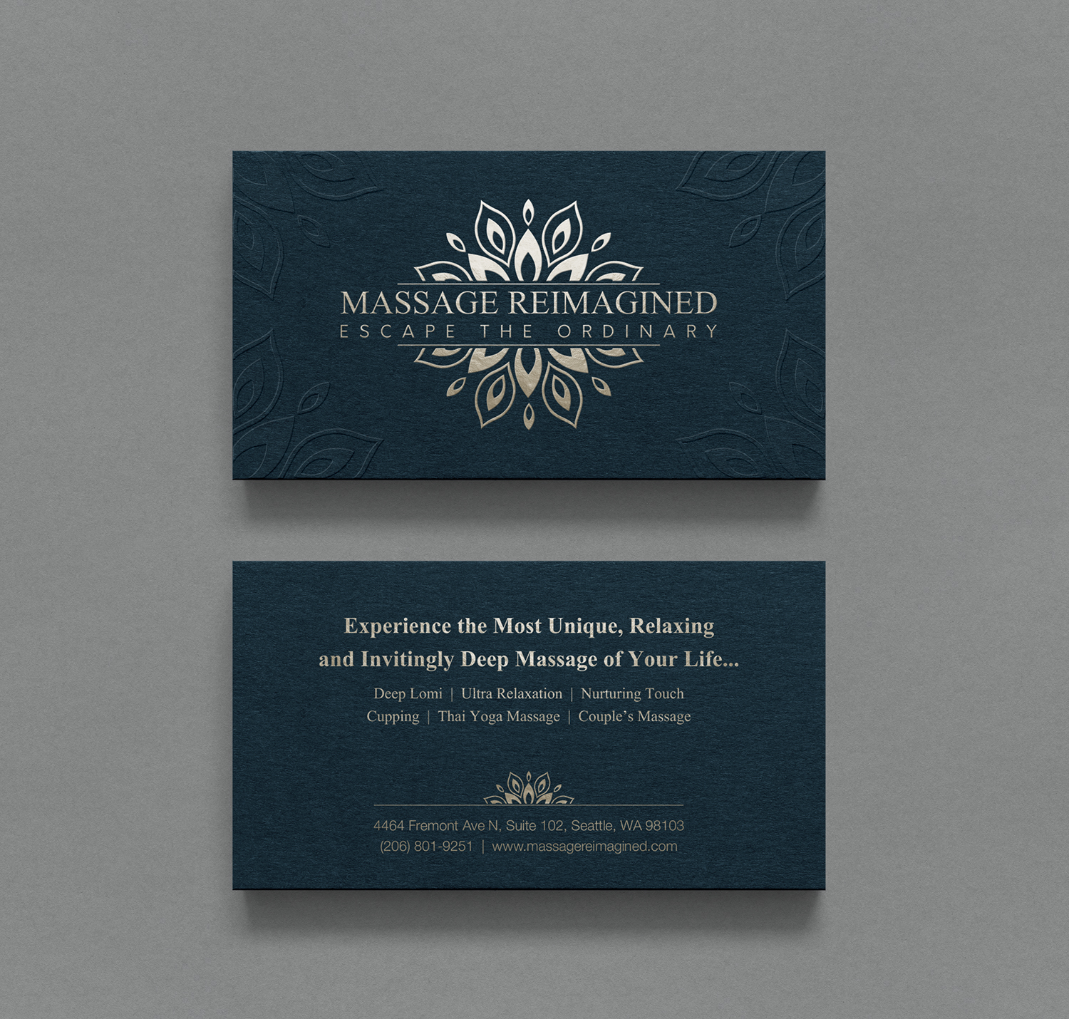 Elegant playful massage business card design for a company by business card design by logodentity for this project design 16331209 reheart Image collections