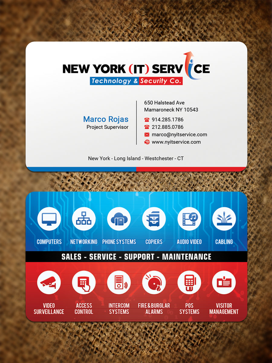 Modern elegant information technology business card design for new business card design by sandaruwan for new york it service design 16534263 reheart Image collections