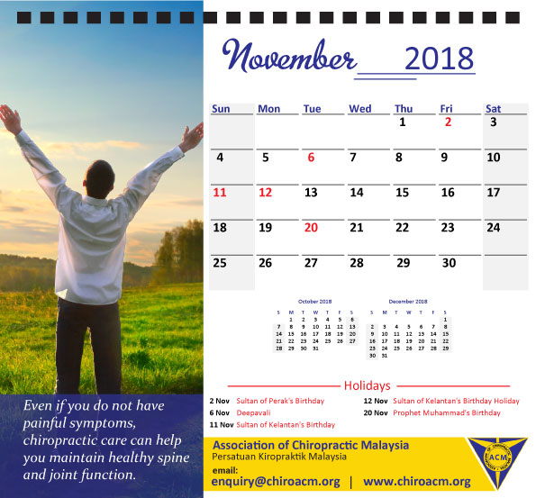 Health Calendar Design : Elegant professional chiropractor calendar design for