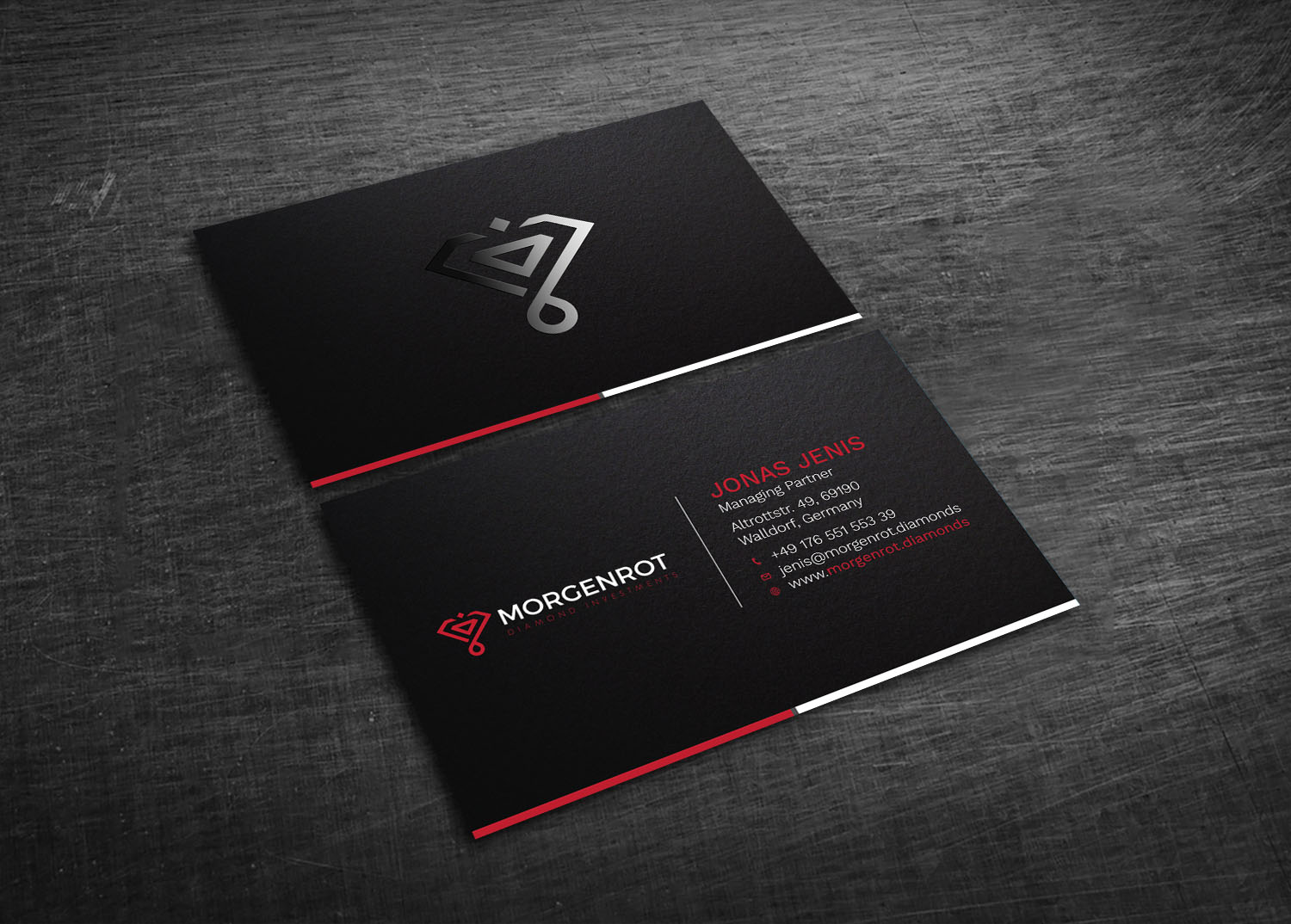 Elegant serious financial service business card design for business card design by graphic flame for morgenrot diamond investments ohg design 16424036 colourmoves