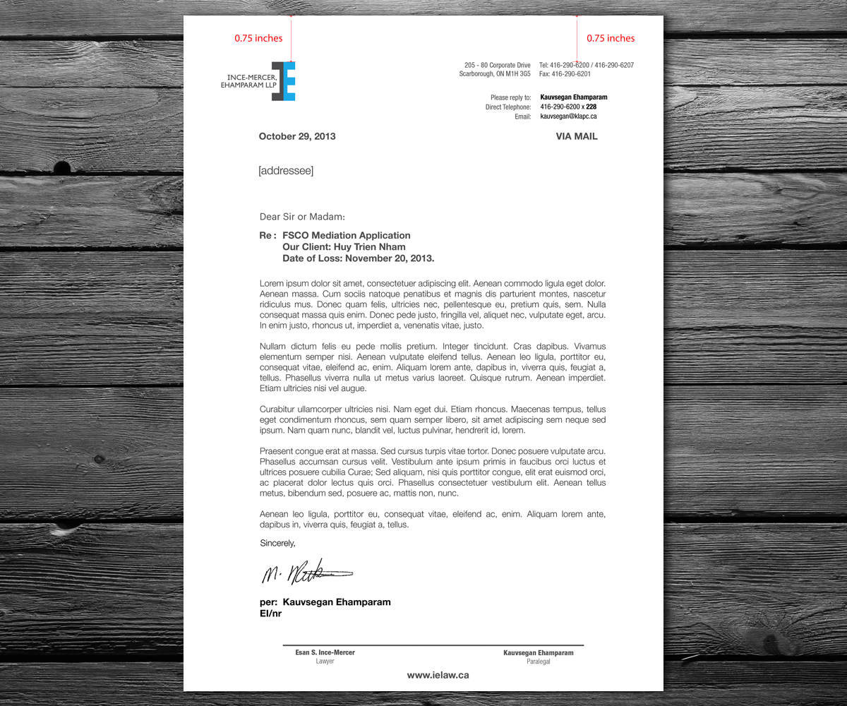 Letterhead Design For Ince-Mercer, Ehamparam LLP By
