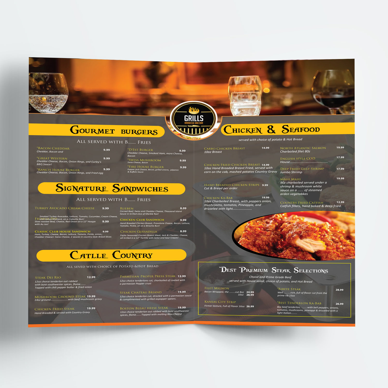 masculine traditional restaurant menu design for uptown cafe club