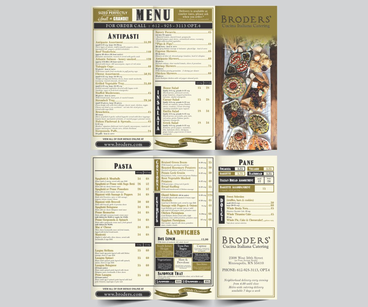 Catering menu design for broders 39 cucina italiana by cut for Cucina italiana design