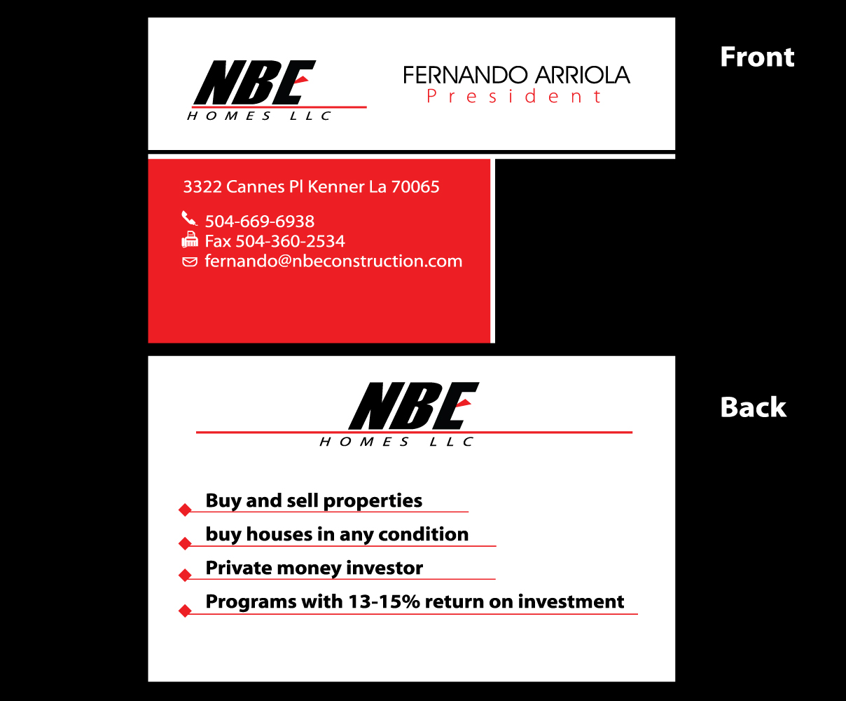 Business card design for fernando arriola by graphicsexpert design business card design by graphicsexpert for nbe homes design 16596221 reheart Choice Image