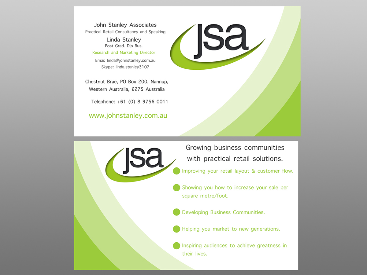 Elegant serious training business card design for john stanley business card design by chrisyo99 for john stanley associates design 2660666 colourmoves Images