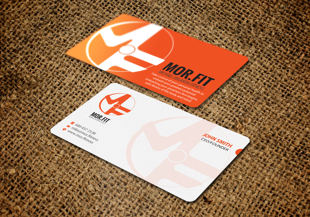 Professional modern business card design for michael orlando business card design by brand aid for mort michael orlando fitness needs colourmoves Images