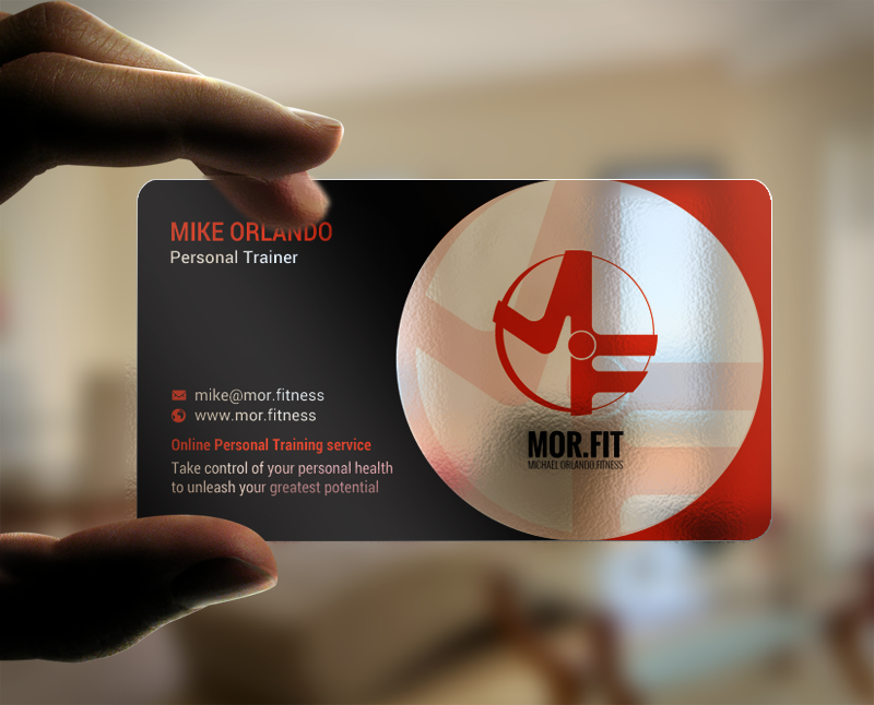 Professional modern personal trainer business card design for business card design by chandrayaaneative for michael orlando fitness design 16744670 reheart Image collections