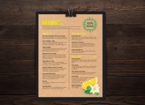 elegant playful restaurant menu design for hundred monkeys by