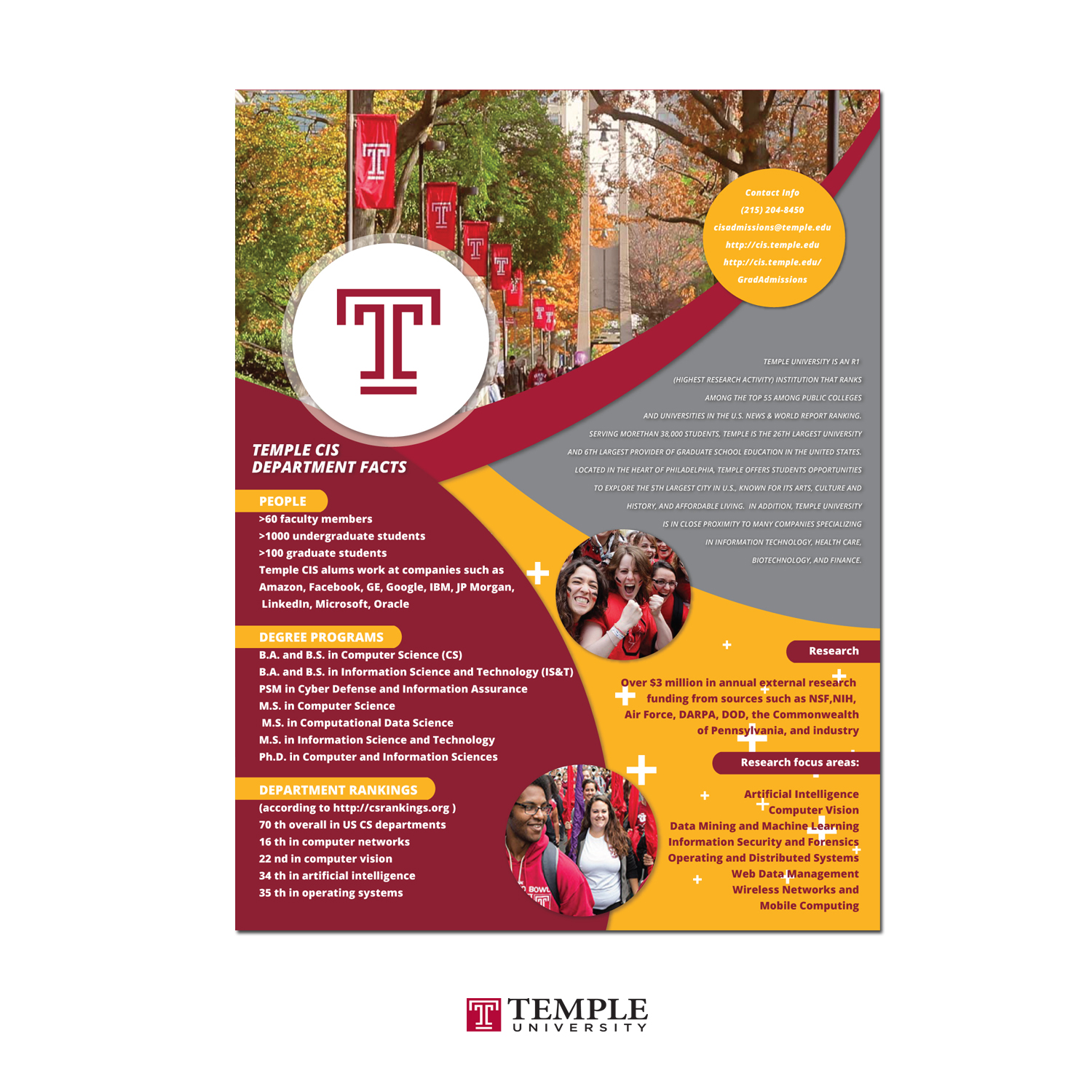 Bold Serious Education Flyer Design For Temple University In United States