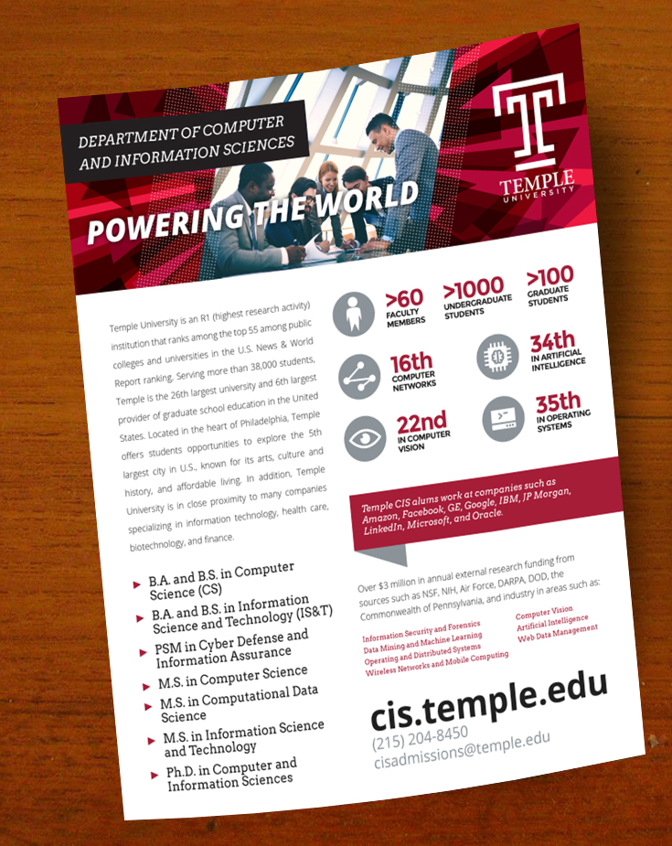 bold serious education flyer design for temple university by