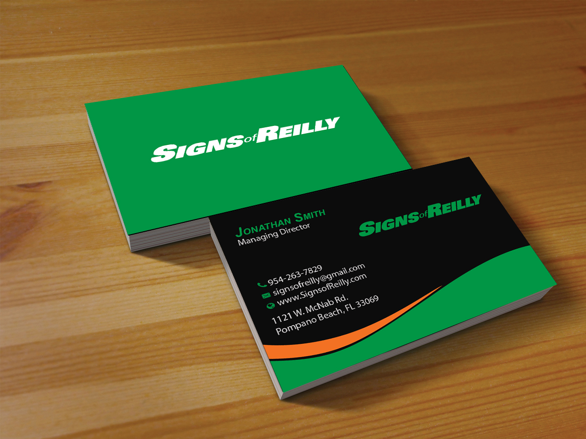 Serious professional business business card design for signs of business card design by creations box 2015 for signs of reilly design 16698083 colourmoves