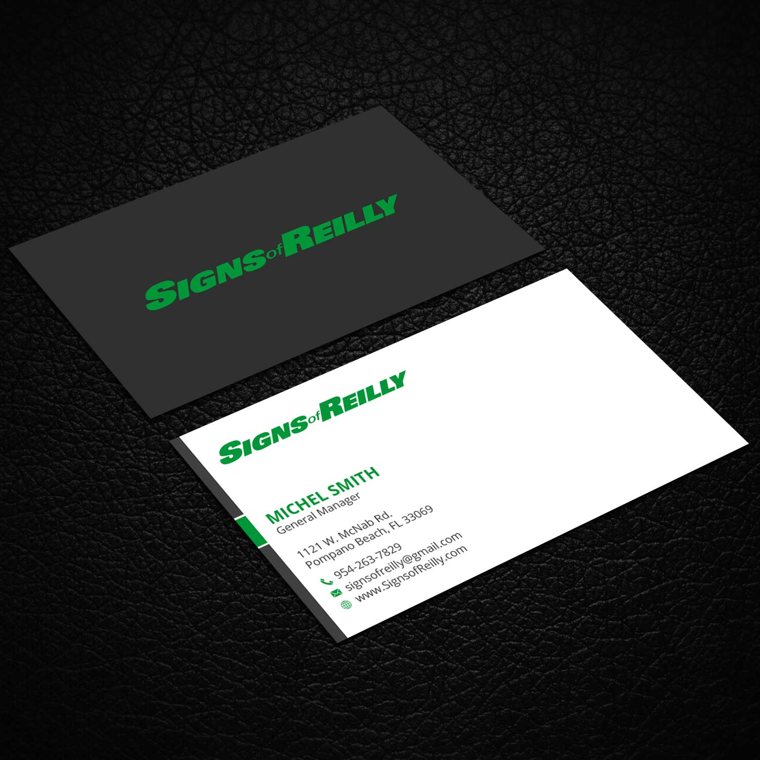 serious professional business card design for signs of reilly by