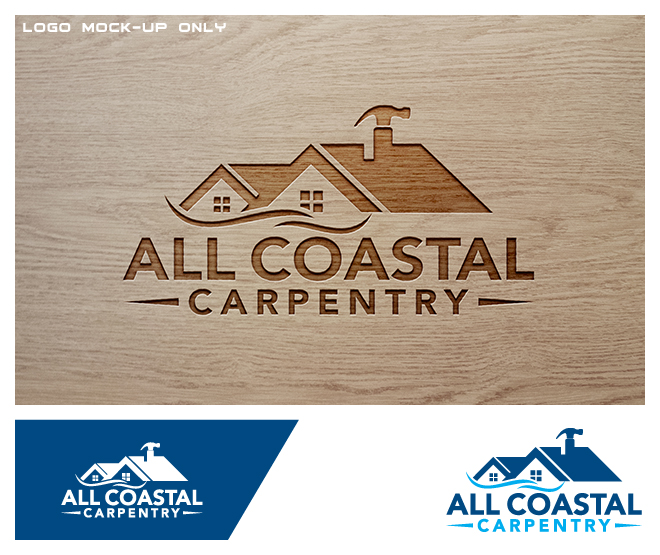 Masculine Playful Carpentry Logo Design For All Coastal Carpentry