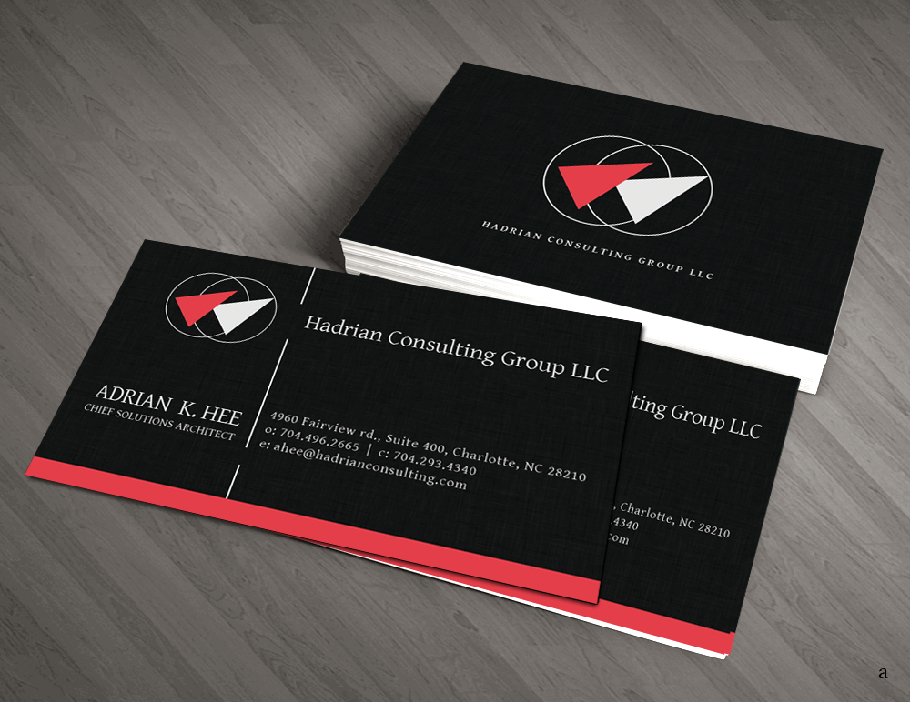 36 professional business card designs progressive business card business card design by artman for hadrian consulting group llc design 2695277 reheart Choice Image