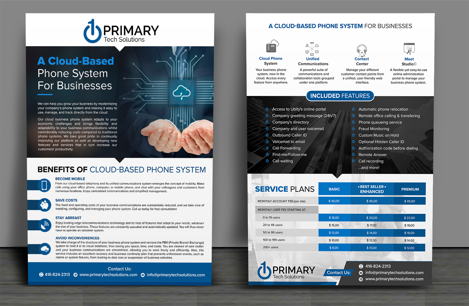Elegant, Playful, Voip Flyer Design for PRIMARY Tech Solutions by SD WEBCREATION - Design #16795625