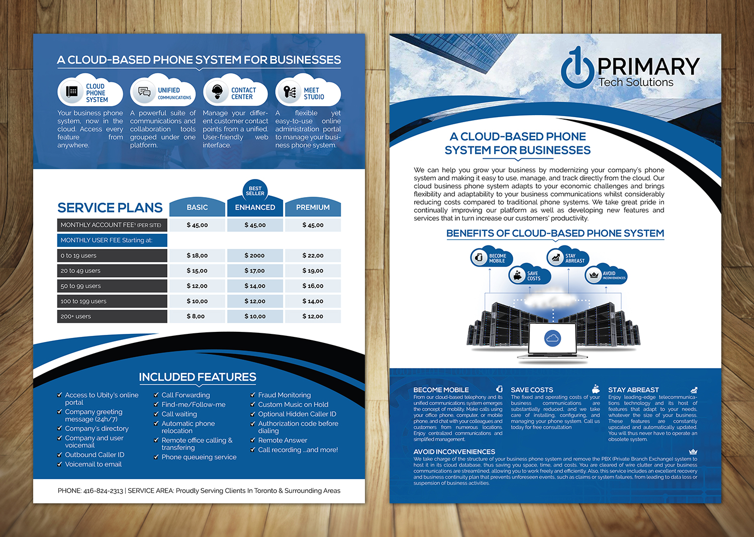 elegant playful voip flyer design for primary tech solutions by