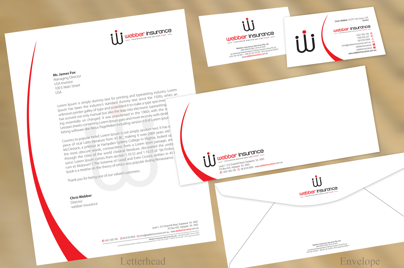 Modern Professional Letterhead Design For Webber Insurance