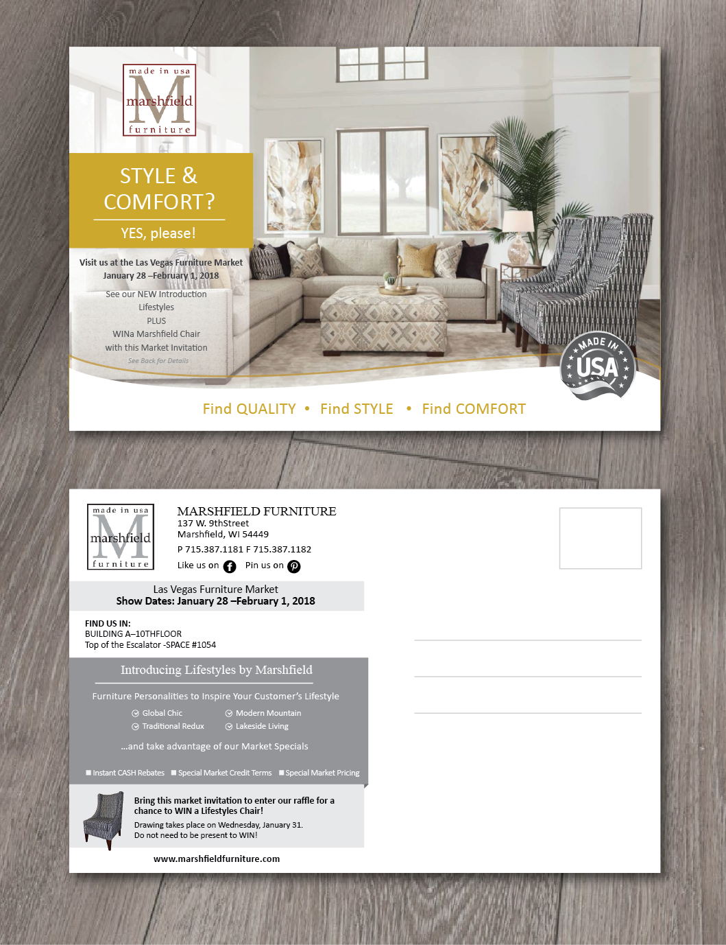 Postcard Design By Alex989 For Marshfield Furniture | Design #16809428