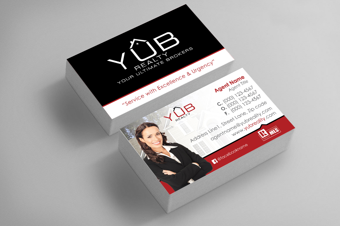 Upmarket elegant real estate agent business card design for red business card design by fam studio for red empresario design 16932618 reheart Gallery