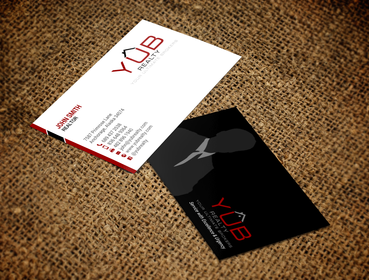Upmarket elegant real estate agent business card design for red business card design by chandrayaaneative for red empresario design 16890558 reheart Gallery