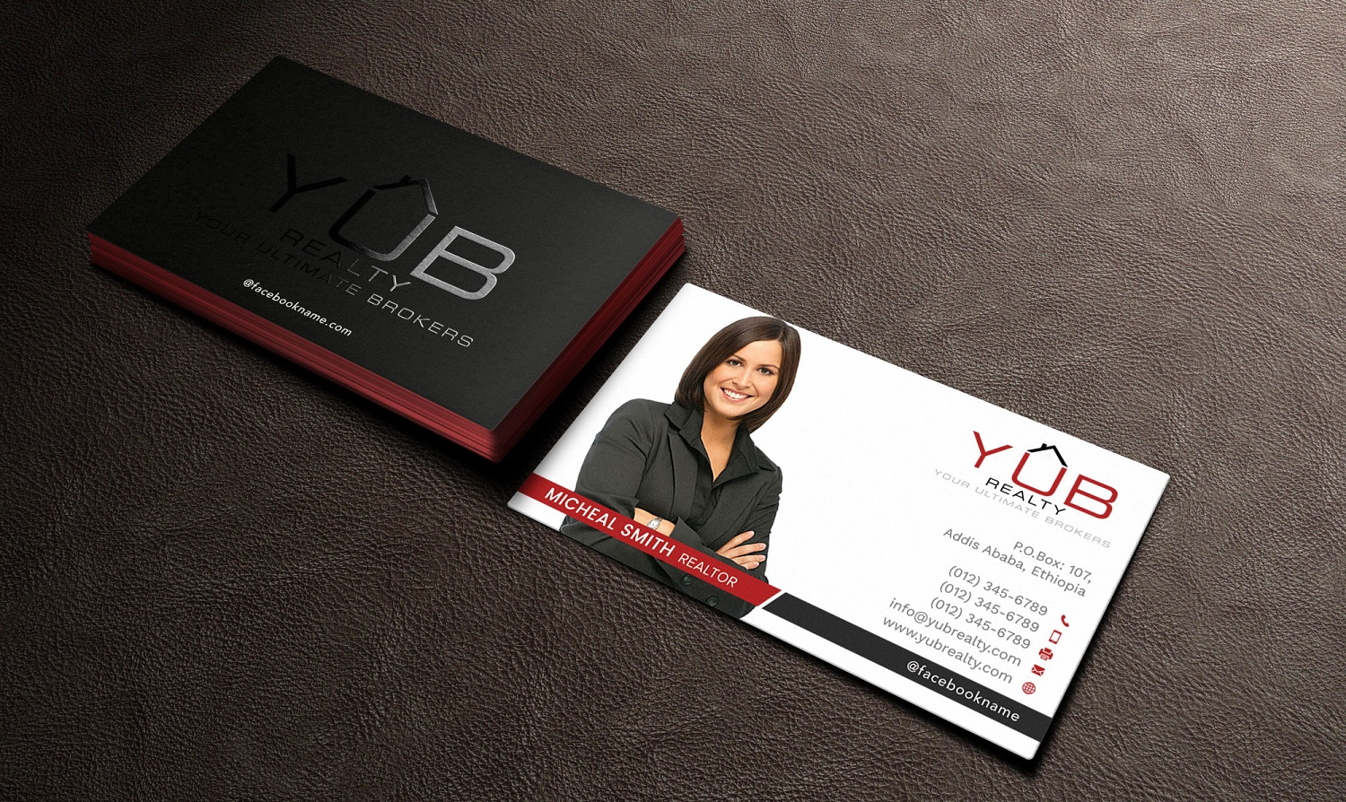 Upmarket elegant real estate agent business card design for red business card design by avanger000 for red empresario design 16884342 reheart Images