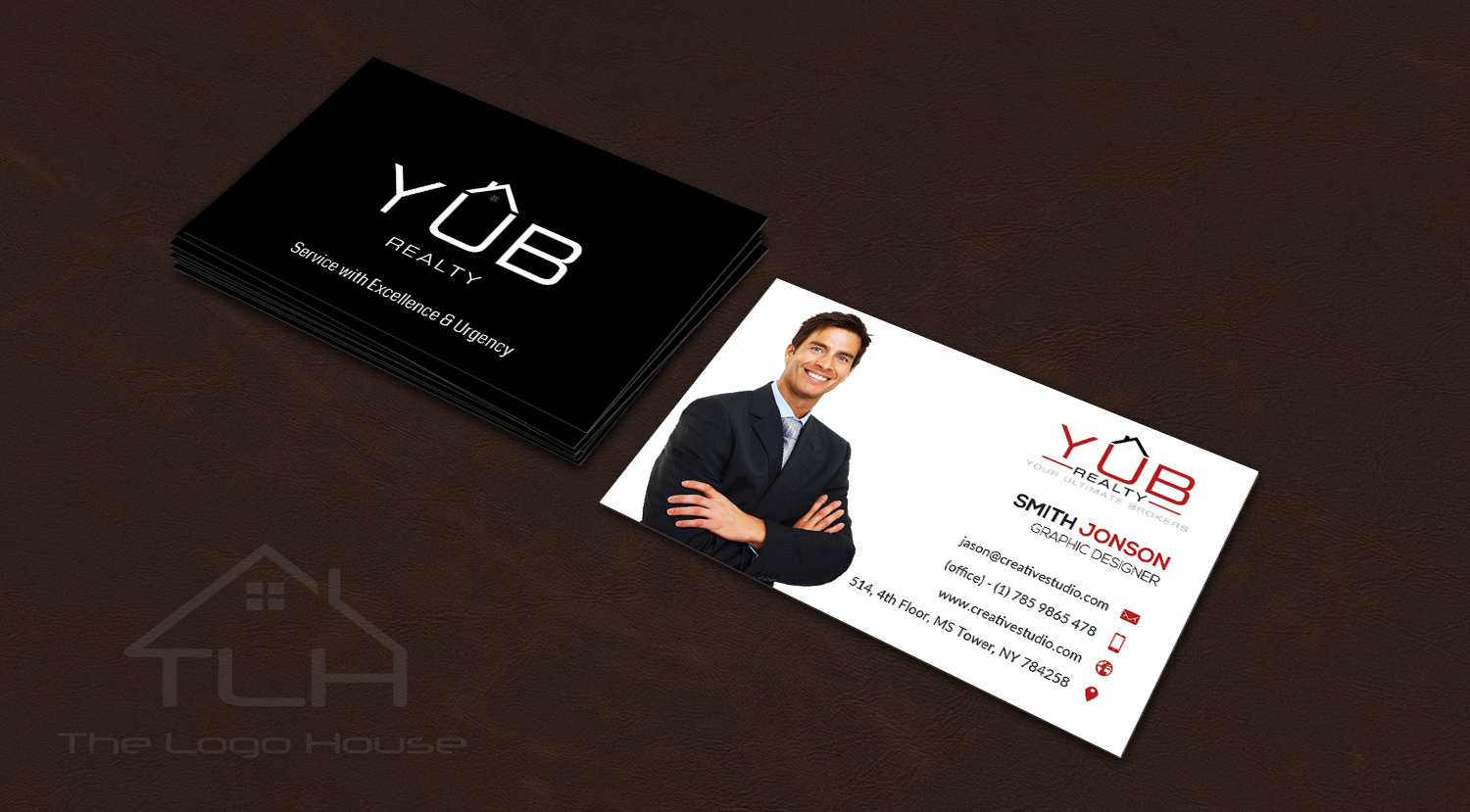 Upmarket elegant real estate agent business card design for red business card design by thelogohouse for red empresario design 16908676 reheart Choice Image