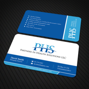 partners in health solutions medical billing and consultant firm business card business card design - Medical Business Cards