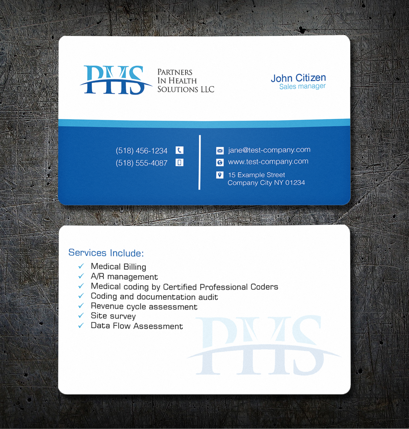 Serious professional medical business card design for partners in business card design by creation lanka for partners in health solutions llc design 16996059 reheart Images