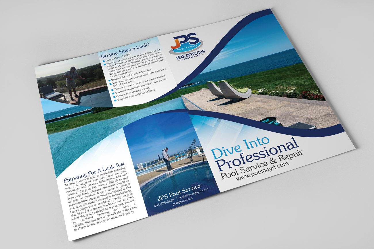 Swimming Pool Service Brochure Design : Upmarket traditional pool service brochure design for