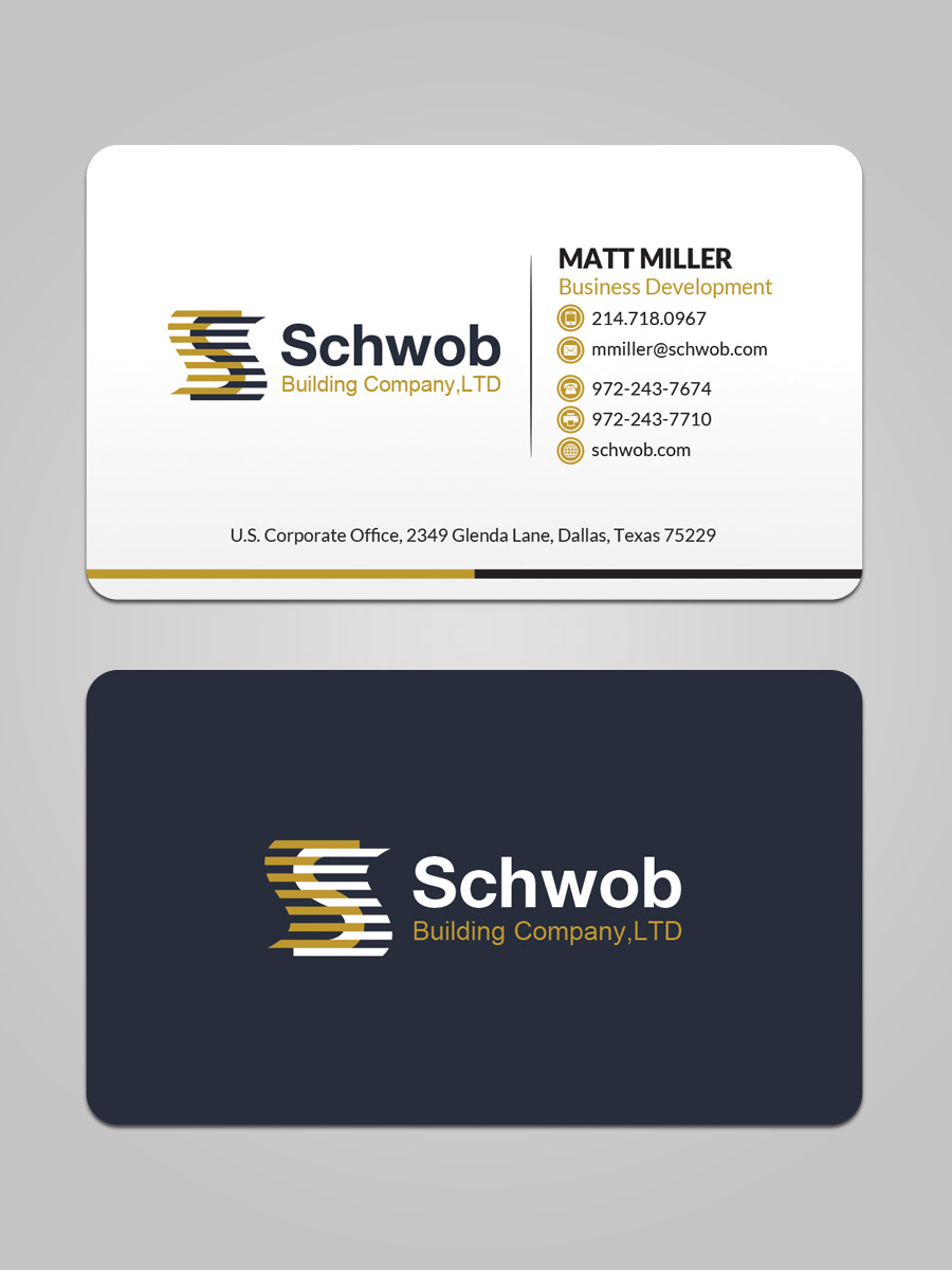 Bold serious construction company business card design for schwob bold serious construction company business card design for schwob companies in united states design 17053175 colourmoves