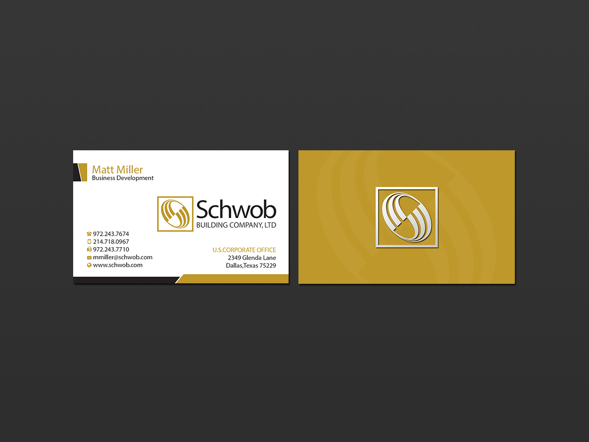 Bold serious construction company business card design for schwob bold serious construction company business card design for schwob companies in united states design 17056169 colourmoves