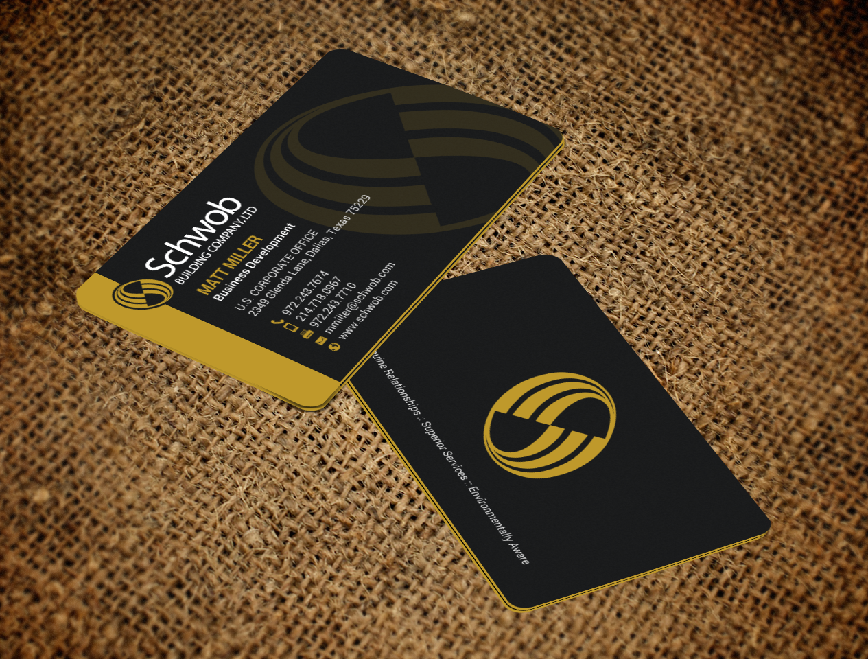 Bold, Serious, Construction Company Business Card Design for Schwob ...