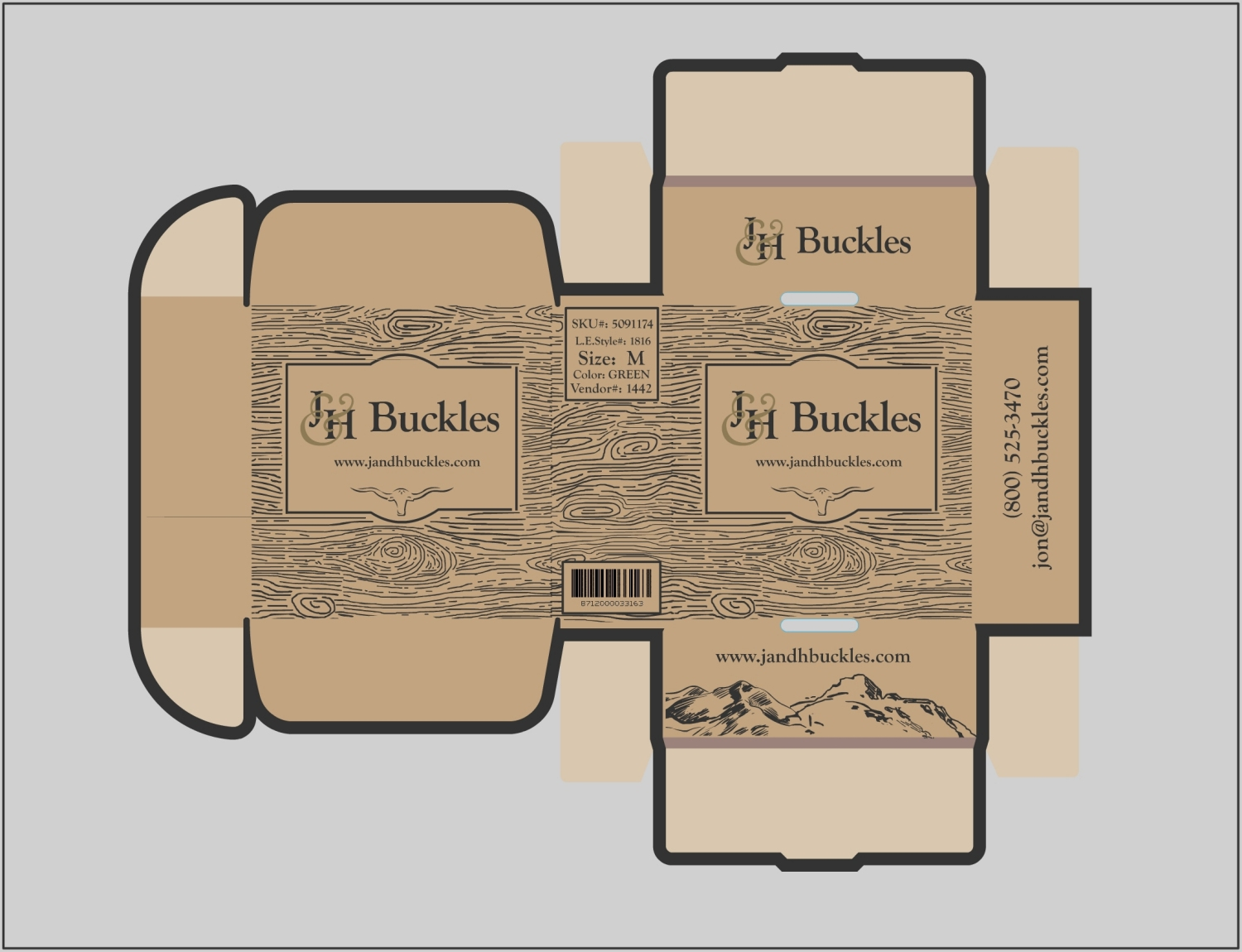 upmarket bold clothing packaging design for j h buckles by kero